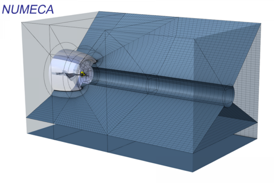 Block structured mesh in a combustion chamber