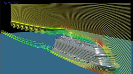 Streamlines around a cruise ship