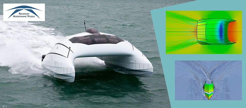 A2V relied entirely on simulation during the design of the fully instrumented 10.5m prototype of their aerodynamic boat